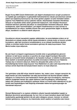 Ahmet Akgül Hocamızın KONYA MİLLİ ÇÖZÜM SÜNNET ŞÖLENİ