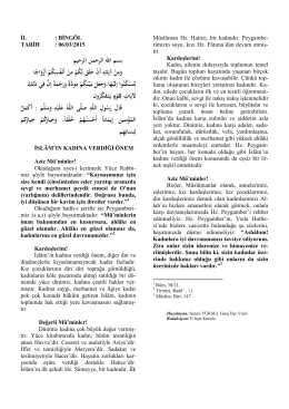 İslam`ın Kadına Verdiği Değer