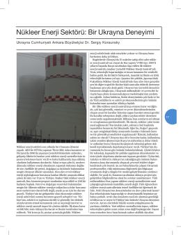Nükleer Enerji Sektörü: Bir Ukrayna Deneyimi