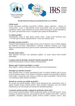 Kronik bakteriyel olmayan osteomiyelit/osteit (veya CRMO) Kronik