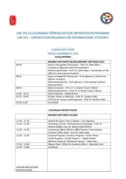 unı 101-uluslararası öğrenciler için oryantasyon programı