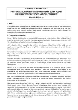 Portföy Aracılığı Faaliyeti Kapsamında Emir İletimi ve