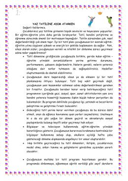 YAZ TATİLİNE ADIM ATARKEN - İstanbul Üniversitesi Vakfı