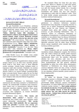 """07.08.2015 Tarihli Cuma Hutbesi """"Kulluğun Özü: İhsan"""""""
