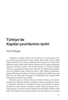 Türkiye`de Kapital çevirilerinin tarihi