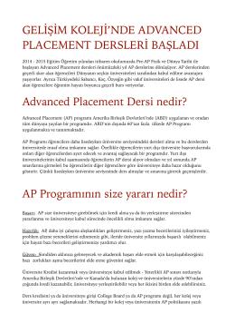 AP Programı - Gelişim Koleji