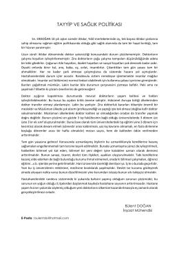tayyip ve sağlık politikası