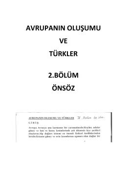 avrupanın oluşumu ve türkler 2.bölüm önsöz