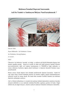 Beklenen İstanbul Depremi Sonrasında Acil Su Temini ve