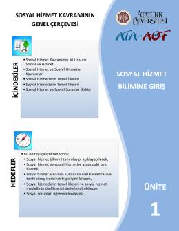 sosyal ve hizmet - Atatürk Üniversitesi Açıköğretim Fakültesi