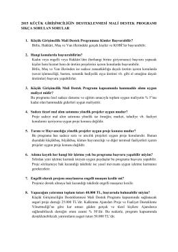 2015 KGMDP Sıkça Sorulan Sorular