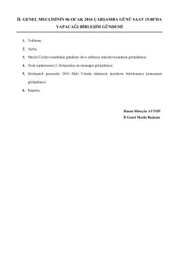 il genel meclisinin 06 ocak 2016 çarşamba günü saat 15.00`da