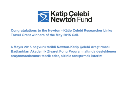 Congratulations to the Newton - Kâtip Çelebi