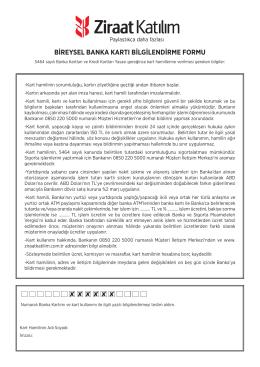 Bireysel Banka Kartı Sözleşmesi