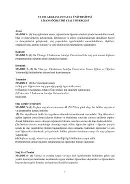 Lisans Öğretimi Staj Yönergesi - Uluslararası Antalya Üniversitesi