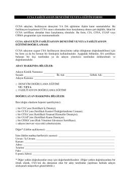 CCSA FASİLİTASYON DENEYİMİ VE/VEYA EĞİTİM FORMU