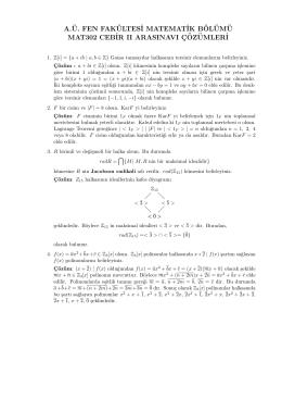 MAT302 Cebir II Arasınav Soruları ve Çözümleri