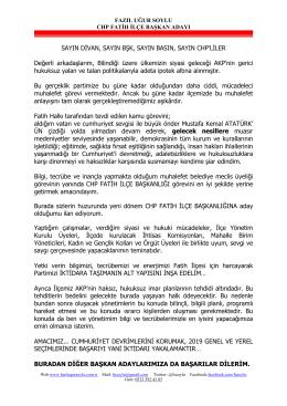 Adaylık Açıklaması - fazilugursoylu.com.tr