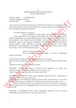 1 tc kahramanmaraş onikişubat belediyesi meclis karar özetleri