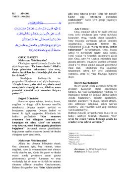 ORUÇ İBADETİ Muhterem Müslümanlar!