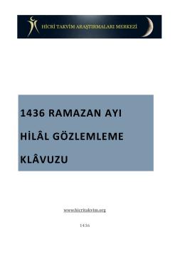 1436 RAMAZAN AYI HİLâL GÖZLEMLEME KLâVUZU