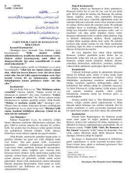 VAKİT İYİLİK VAKTİ - İstanbul İl Müftülüğü