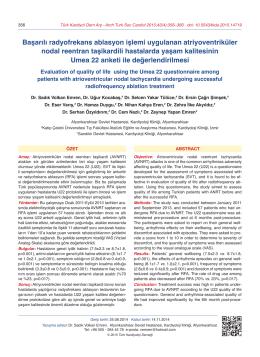 Başarılı radyofrekans ablasyon işlemi uygulanan atriyoventriküler