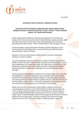 5.12.2015 Geleneksel Altın Portakal`lar sahiplerini buldu Geleneksel