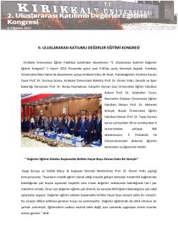 II. Uluslararası Katılımlı Değerler Eğitimi Kongresi