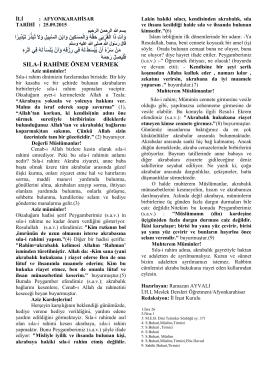 25.09.2015 SILA-İ RAHİME ÖNEM VERMEK