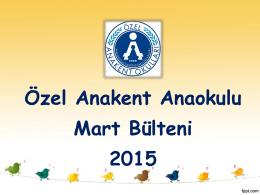 Anaokulu Mart 2015 Bülteni