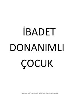 Nureddin Yıldız`ın 30.03.2015 tarihli (246.) Hayat