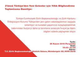 3`üncü Türkiye`den Yeni Gelenler için Yıllık Bilgilendirme