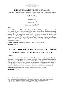 Talebin Gelir Esnekliği - İktisadi ve İdari Bilimler Fakültesi