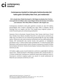 Contemporary Istanbul`un önde gelen katılımcılarından biri haline