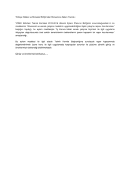 Türkiye Odalar ve Borsalar Birliği`nden Borsamıza Gelen Yazıda