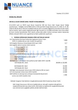 2015/36 290 NO.LU GELİR VERGİSİ GENEL