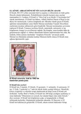 EL KİNDİ: ABBASİ DÖNEMİ`NİN SAYGIN BİLİM ADAMI El Kindi, 801