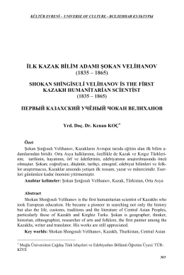 ilk kazak bilim adamı şokan velihanov