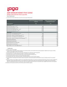 kobi ürünleri hizmet fiyat listesi