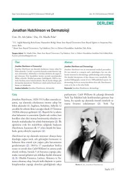 Jonathan Hutchinson ve Dermatoloji Aslı Şahin, Mualla
