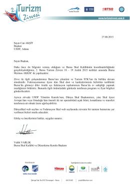 27.08.2015 Sayın Can AKŞĐT Başkan USDF, Adana