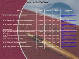 istanbul kasım ayı eğitim planı 2015