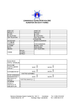 çanakkale içdaş spor kulübü kursiyer ön kayıt formu