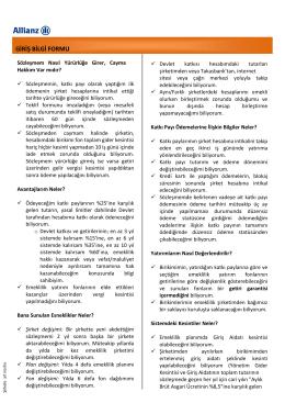 GİRİŞ BİLGİ FORMU - Allianz Yaşam ve Emeklilik
