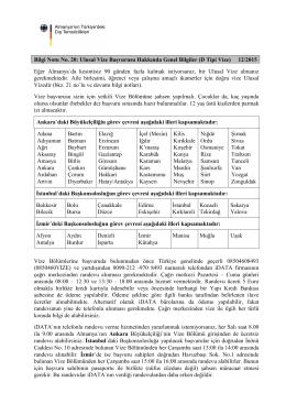 Bilgi Notu No. 20: Ulusal Vize Başvurusu Hakkında Genel Bilgiler (D