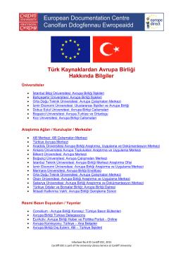 Türk Kaynaklardan Avrupa Birliği Hakkında Bilgiler