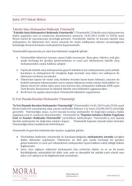Şubat 2015 Hukuk Bülteni Taksitle Satış Sözleşmeleri Hakkında