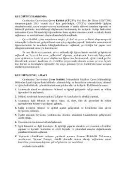 Çevre Kulubü Hakkında - Cumhuriyet Üniversitesi Çevre