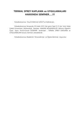 TERMAL SPREY KAPLAMA ve UYGULAMALARI HAKKINDA